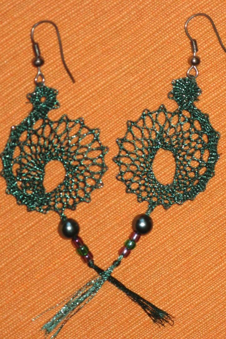 uhani zeleni s perlo